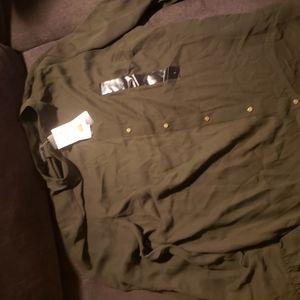 Army green chiffon work shirt
